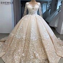 صور حقيقية رداء دي ماري الدانتيل الكرة ثوب الزفاف 2020 كم طويل فساتين الزفاف مع كاتدرائية قطار Vestido De Noiva