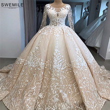 Real Photos Robe De Mariee Lace Ball Gown Wedding Dress 2020 Long Sleeve Wedding Gowns With Cathedral Train Vestido De Noiva