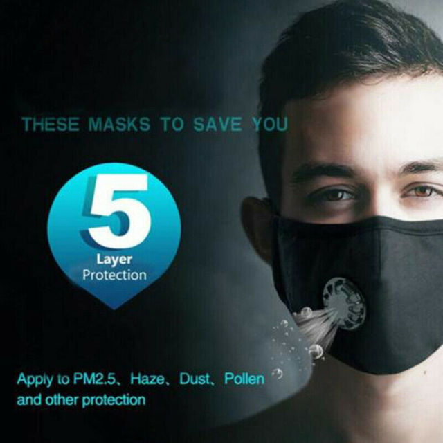 PM2.5 Valved Mask Dust Respirator Mask Washable Reusable Face Masks Cotton Unisex Mouth Mask Muffle + 2pc Filter Air Pads 5