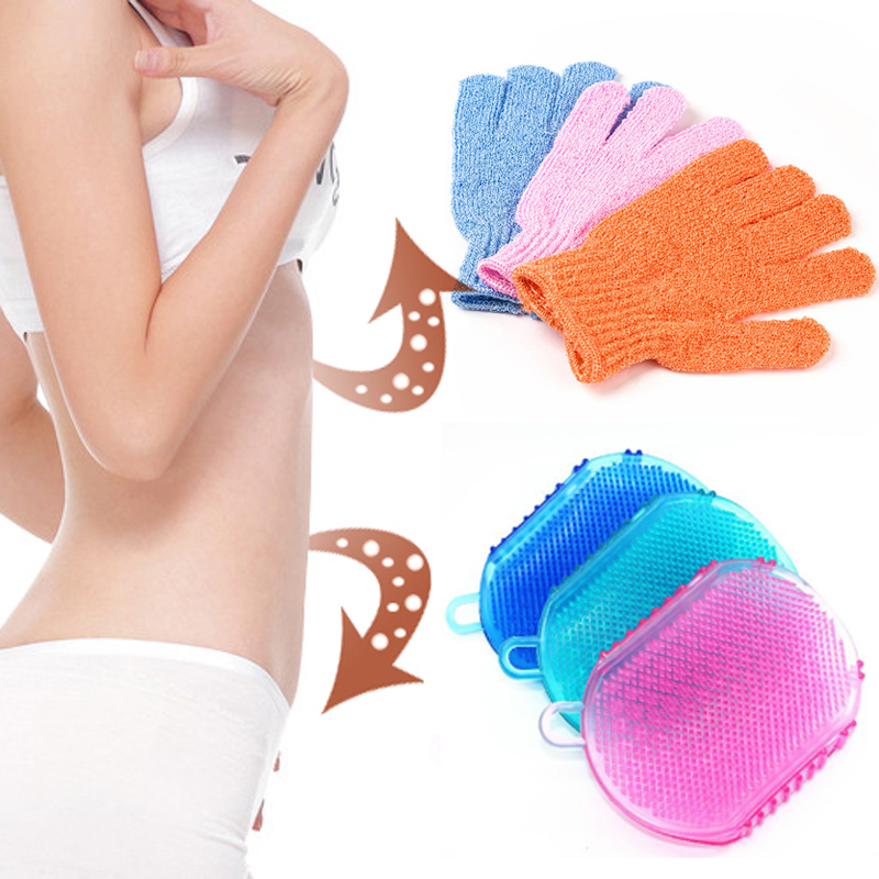 1/2pcs Bath Exfoliating <font><b>Glove</b></font> For <font><b>Shower</b></font> Scrub <font><b>Gloves</b></font> Anti-cellulite Body Massage Skin Moisturizing SPA Foam Cleaning Bath Tools image