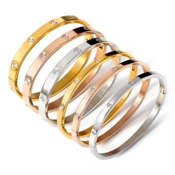 New Nail Fashion Classic Women's Bangles for Women Gold Rose Gold Silver Color Rhinestone Bracelet C