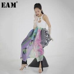 [EAM] High Waist Pattern Printed Stitch Ways Wear Perspective Half-body Skirt Women Fashion Tide New Spring Autumn 2020 1S117