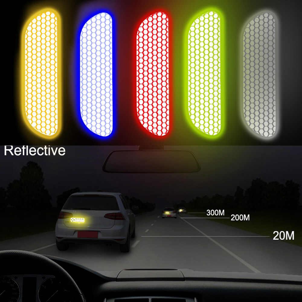 4 unids/set cinta de advertencia para coche marca de seguridad tiras reflectantes pegatinas reflectantes para coche Rueda de la puerta pegatina para cejas
