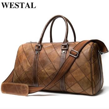 WESTAL leather duffle bag men's travel vintage weekend bags genuine luggage/overnight tote - discount item  47% OFF Travel Bags