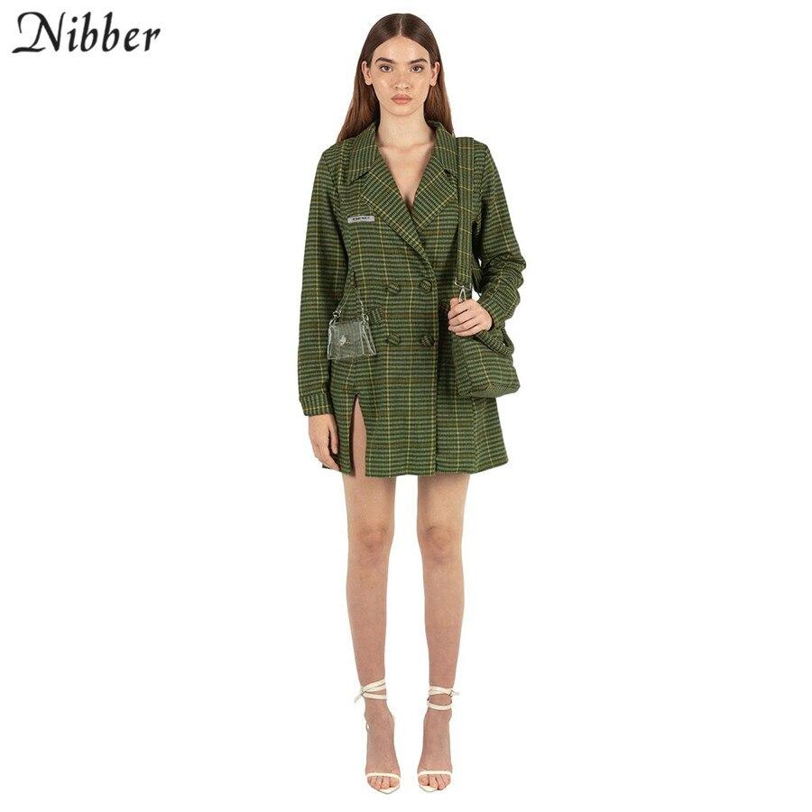Nibber Autumn Retro Plaid Leisure Long Tops Women Wild Coat Women Office Lady Jackets 2020 Spring Casual Street Jackets Femme