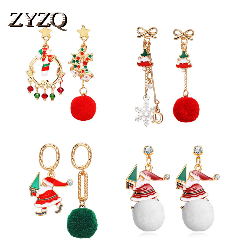 ZYZQ Fashion Christmas Series Earrings Creative Snowball Dripping Oil Alloy Snowman Pendant Earrings for WOmen Christmas Gift