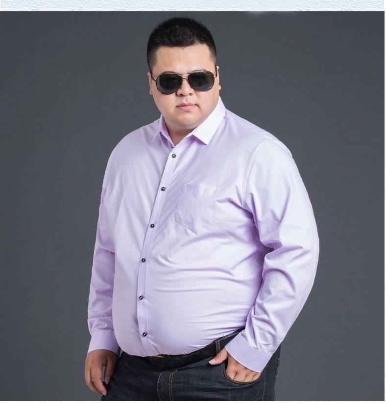 High Quality Winter Autumn Men Plus Size Big Dress Shirt Long Sleeve 6XL 8XL 10XL 12XL Formal Office Shirts Business Blue