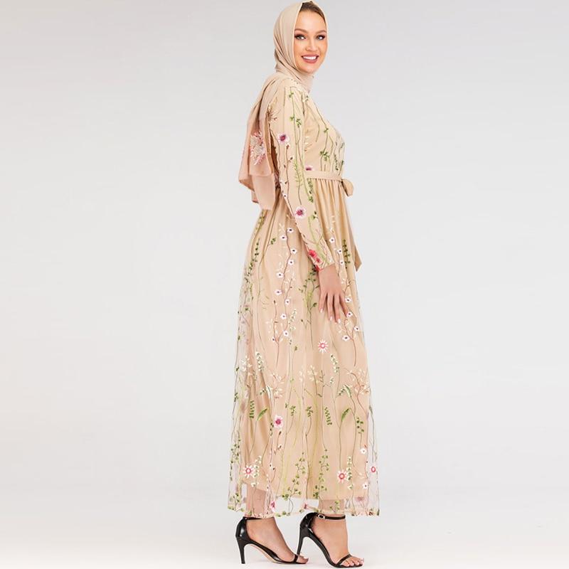 Muslim Fashion Dress Floral Abaya Dubai Turkish Dresses Islam Caftan Maroc Kaftan Qatar Oman Islamic Clothing