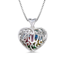 XiaoJing 100% 925 Sterling Silver Personality Heart Cage Necklace With Birthstone Jewelry Mothers Day Gift Free Shipping 2019