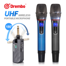 Plug and play!!! Drembo UX2S 2channel protable wireless microphone with handheld Mic UHF Frequency Adjustable for karaoke цена