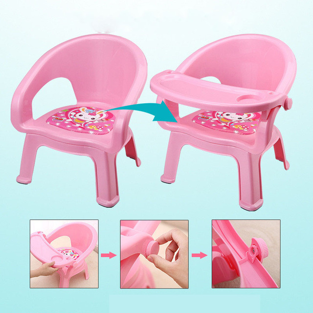 2019New Children's Dining Chair With Plate Baby Eating Table Baby Chair Dining Table Back Call Called Chair Baby Plastic Stool 2