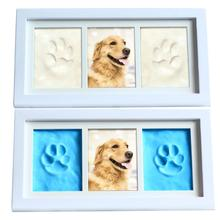 Mold Pet-Pawprint Home-Table Photo Dog Cat Keepsake-Kit Clay-Paw Solid-Wood-Frame Deocr