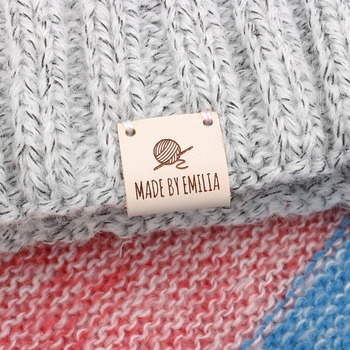 Custom labels, centre fold leather Personalized Brand, knitting label, Knitting Tags For Hats  (PB3186)