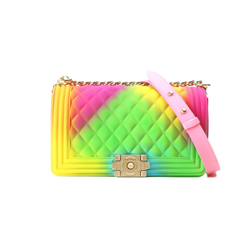 Rainbow Matte Colorful PVC Jelly Chain Bags Plaid Multicolor Crossbody Purse Handbag Luxury Handbags Women Bags Designer