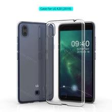 Funda para LG K20 (2019) de silicona TPU, carcasa protectora transparente para LG K20 2019, cubierta parte posterior transparente