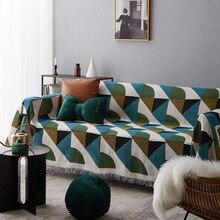 Vintage estilo geométrico patrón sofá toalla cubierta fundas chaise longue extraíble manta de cuadros algodón/poliéster