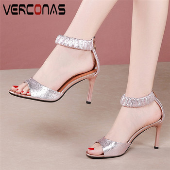 VERCONAS Women Thin Heels High Quality Genuine Leather Classic Design Sandals High Heels Party Pumps Summer Elegant Shoes Woman