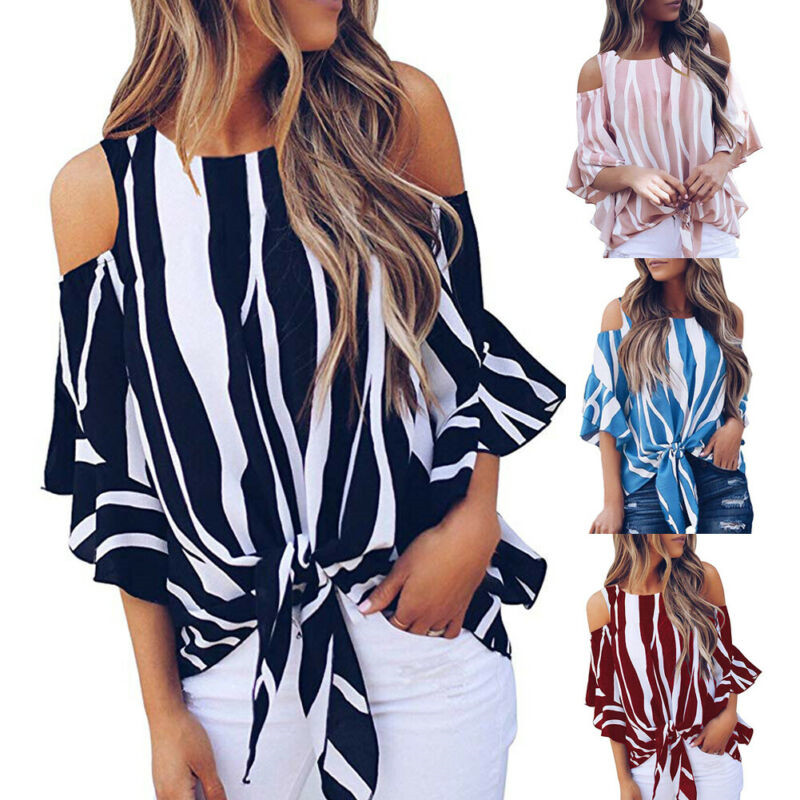 Fashion Women Cold Off Shoulder Stripe Loose Tops Butterfly Short Sleeve O-neck Summer Casual Baggy Tie Knot   Blouse     Shirt