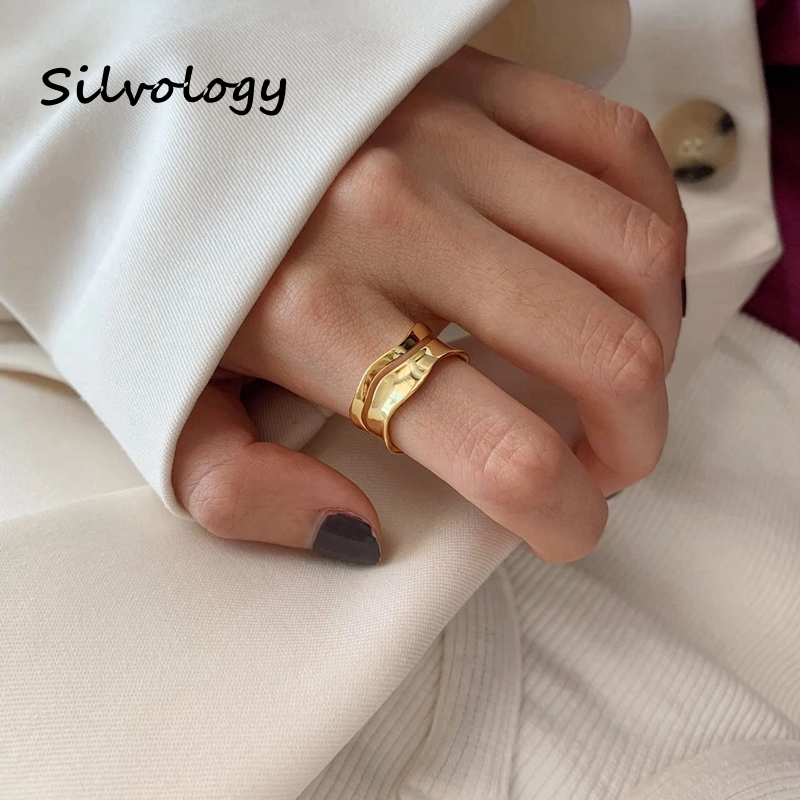 Silvology 925 Sterling Silver Wave Curve Rings Gold Color Irregular Elegant Double Layer Elegant Rings For Women Party Jewelry