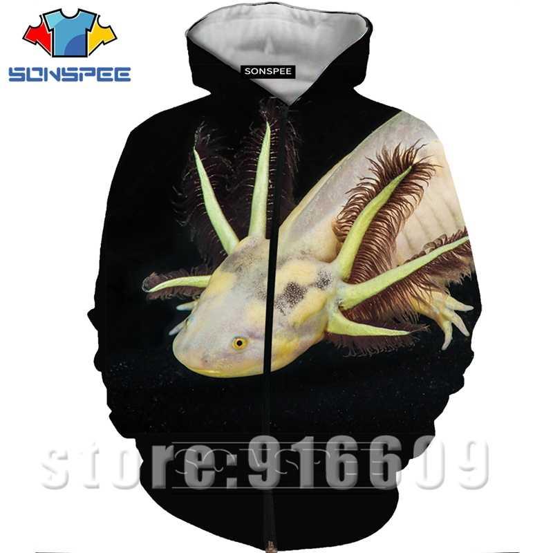 Nowe kobiety mężczyźni płaszcz 3D drukuj zwierząt Axolotl bluzy Cosplay kurtka Top bluza Anime bluza z kapturem Harajuku Hip Hop zamek Rock Hoody