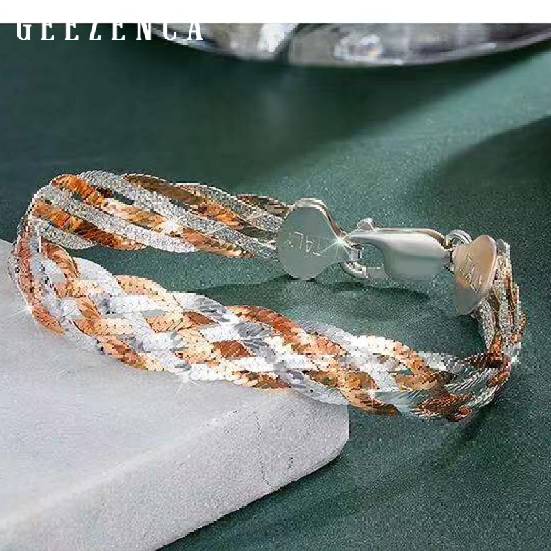Italian Jewelry 925 Sterling Silver Rose Gold Platinum Plated Bracelet Double Color Thread Weave Bracelets Women Christmas Gift