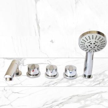 Leaf handl-grifo de bañera de latón, válvula de Control de agua caliente y fría, mezclador de ducha de baño, juego de 5 piezas, grifo de Jacuzzi