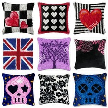 Latch Hook Kit Red Love Heart Cushion Cover Pre-Printed Canvas DIY Yarn Crochet Crafts Pillow Case Size 43x43cm Sofa Bed Pillows(China)
