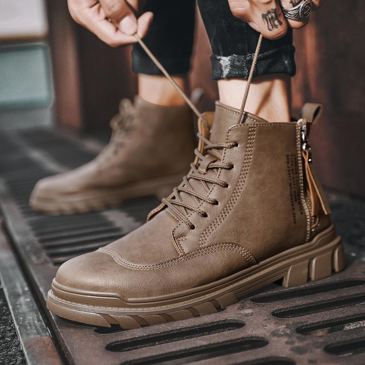 Модные высококачественные осенние мужские ботинки из натуральной
