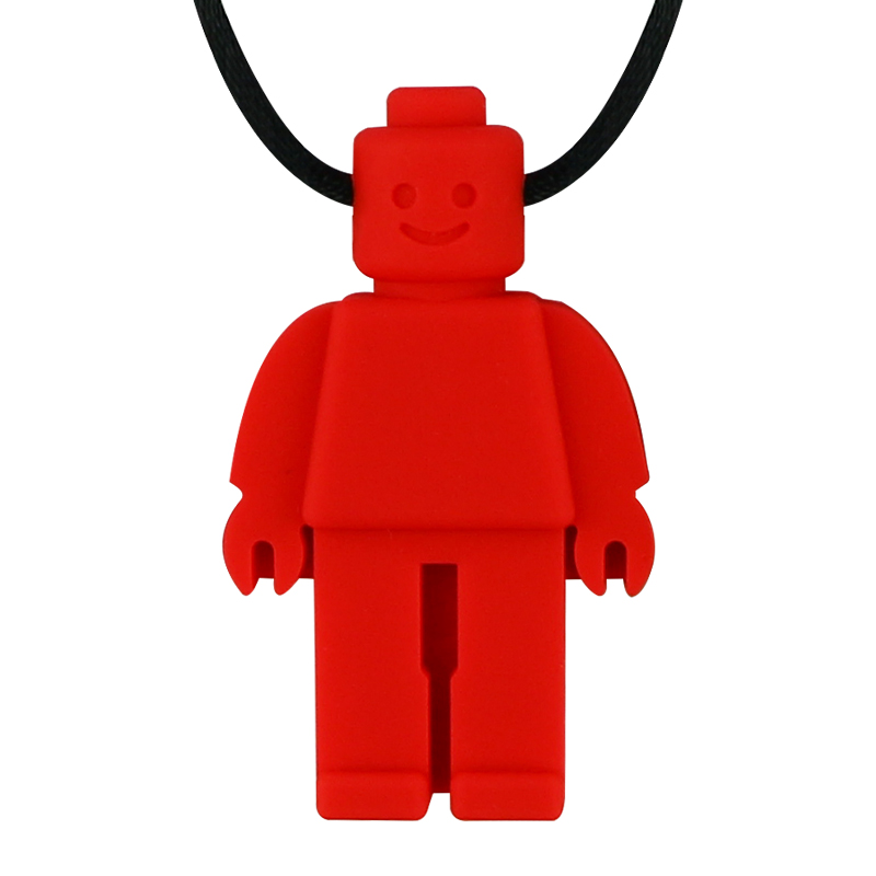Купить с кэшбэком 3PCS Robot Chew Necklace Baby Silicone Teether Chewelry Pendant Sensory Toy for Kids Boys Girls Special Needs