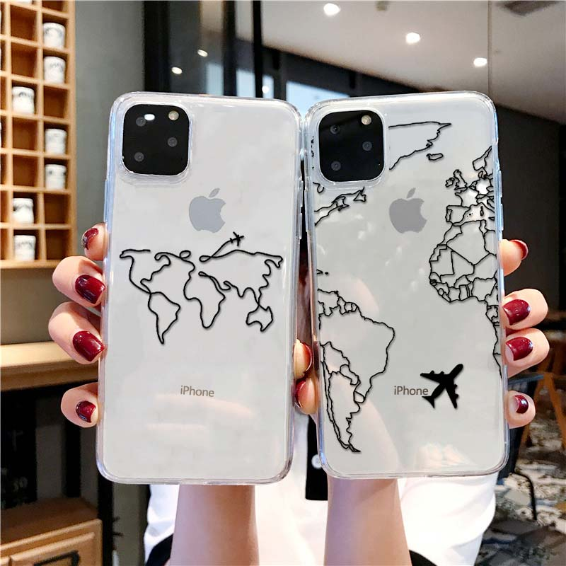 Luxury World Map Travel Soft TPU Phone Case For Iphone 11 Pro XR XS Max Clear Silicone Cover For Iphone 6 7 8 Plus
