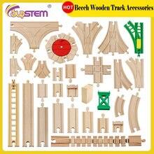 Accesorios de pista de tren de madera para niños, pista de ferrocarril DIY, juguete Compatible con Tomas y sus amigos, juego de vías de tren para chico