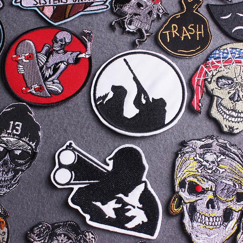 Kafatası Punk yama işlemeli yama giyim için dikiş aplike demir On yamalar giysi için iskelet dürbün yamalar şerit
