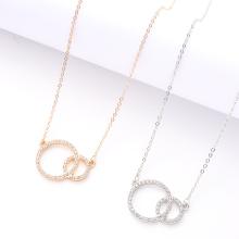 New Pendant Round Necklace Elegant Female Charming Dress Gold And Silver two-Color Noble Luxury Jewelry