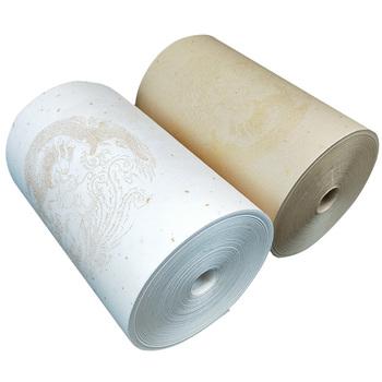 Chiński papier ryżowy rolka kaligrafia malarstwo papier Xuan chiński obraz złota folia pół dojrzałe papier Xuan z smok wzór tanie i dobre opinie suvtoper Half Ripe Xuan Paper 20m 50m 100m