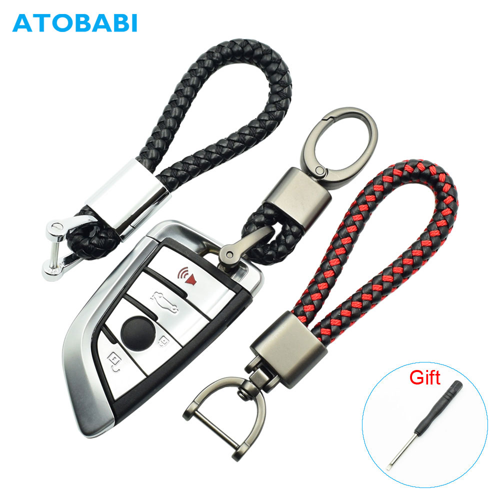 Leather+Alloy Car Key Ring Keychain Holder Room Keyring Motorcycle Key Chain For Honda VW Golf 7 8 Ford SEAT Kia BMW E90 E60 E46 image