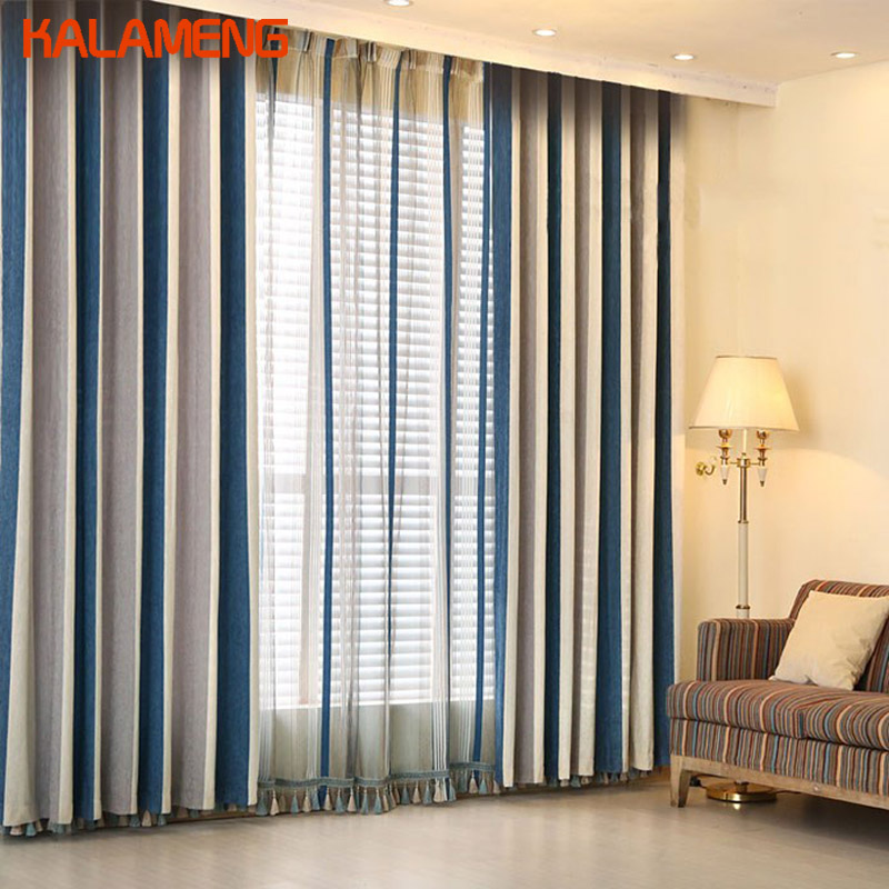 Stripe Country Style Bedroom Living Room Window Screen Shading