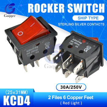 KCD4 2 Files 6 Pins Feets Copper Rocker Switch Power Touch On/off Ship Type Switch with light Silver Contacts 30A/250V 25*31MM image
