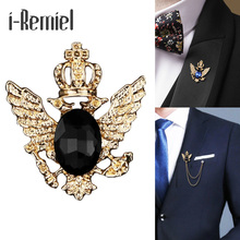 i-Remiel ancient ways small suit crown double-headed eagle wings brooch Fashion male corsage crystal chain tassel badge pin