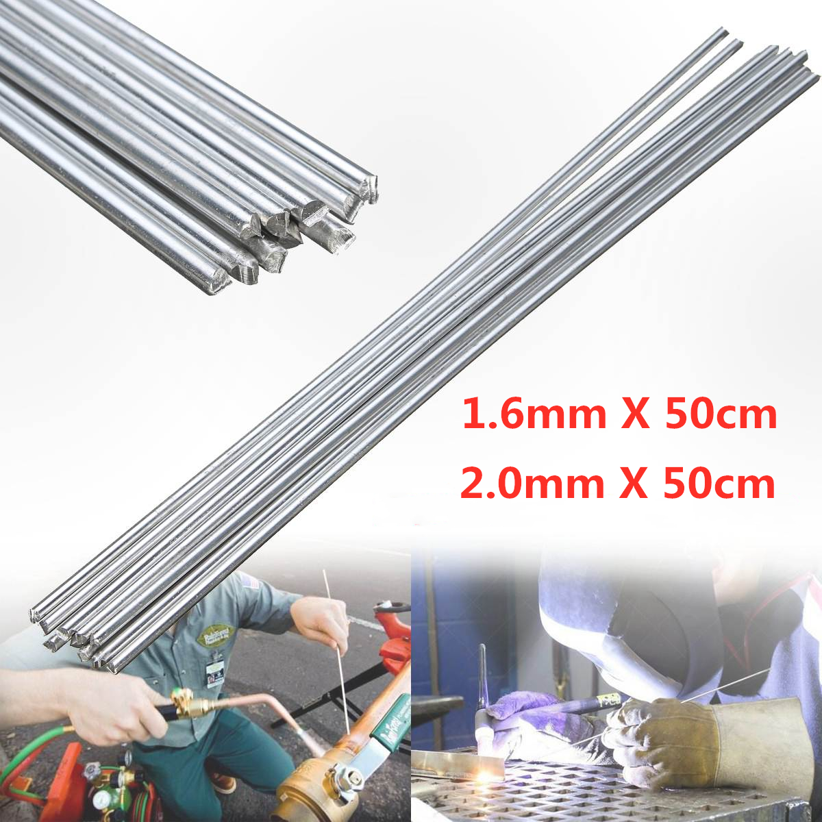 20/10Pcs 1.6/2.0mm x 50cm Aluminum Welding Rod Low Temperature Metal Soldering Brazing Rods with Corrosion Resistance