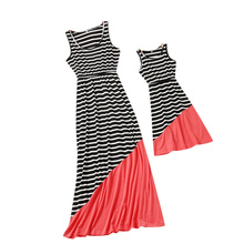 цена на Summer Mother Kids Mom and Daughter Dress Sleeveless Girl Big Sister Family Look Matching Clothes Striped Mother Daughter Dress