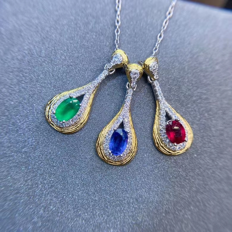 Closeout DealsñMeibapj Jewelry Gemstone Necklace 925 Ruby/emerald Natural Pure-Silver Women Real