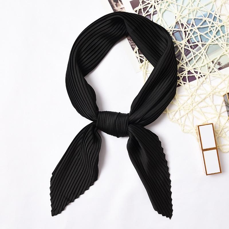 Crinkle Square Small Silk Scarf Neck Bandana For Women Crumple Pure Color Head Scarf Decoration Fashion Print Foulard [3924]