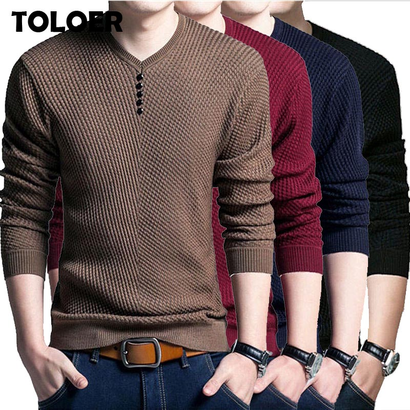 2020 New Men Knitted Sweater Brand V-Neck Casual Pullover Male Autumn Slim Sweaters Men''s Fashion Long Sleeve Knitwear Pullover