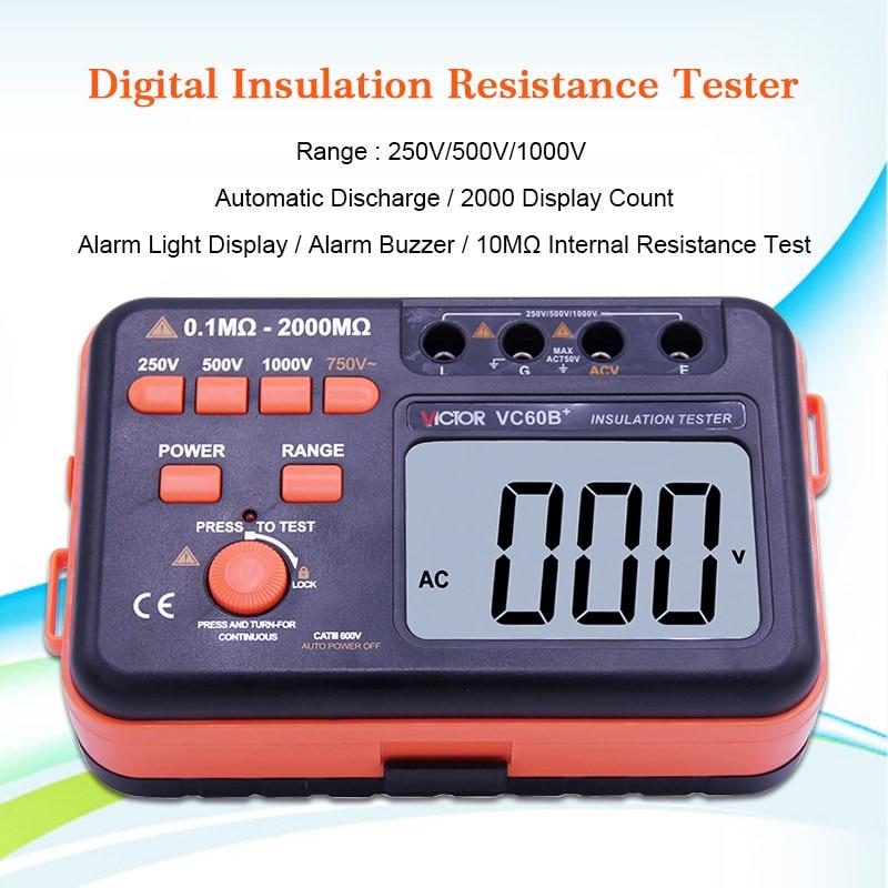 Victor VC60B+ Digital Insulation Resistance Tester Megger MegOhm Meter DC/AC 0.1~2000m Ohm Wholesale