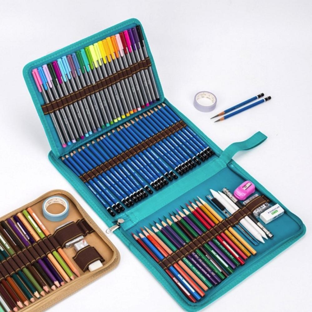 Pencil Bag Folding Pencil Case Three Specifications Zipper Canvas Storage 32 Holes Art Supplies Canvas Pencil Curtain