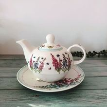 Creative ceramic cold kettle teapot flower coffee tray Lavender pattern Home Office