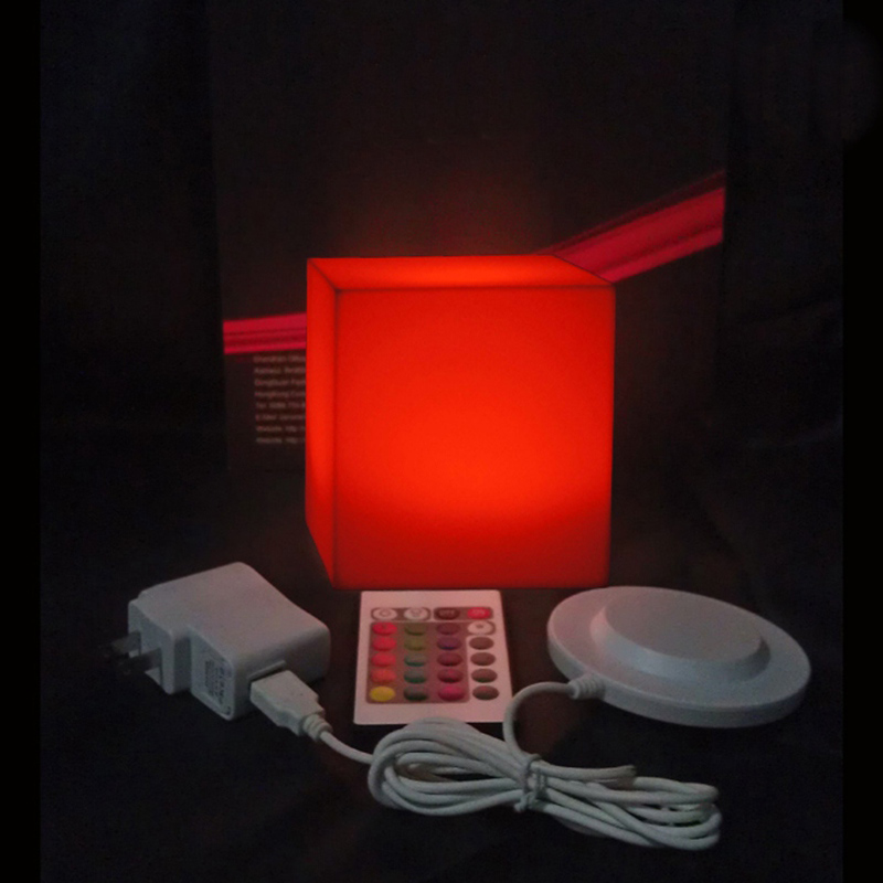 Garden Decoration furniture  Remote Control LED lighting Cube Stool D10cm  with 24 keys free shipping