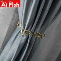Creativo de lujo único Boutique Simple moderno Metal sin fin cortina hebilla correas atado cuerda latón diseñador accesorios A70-50