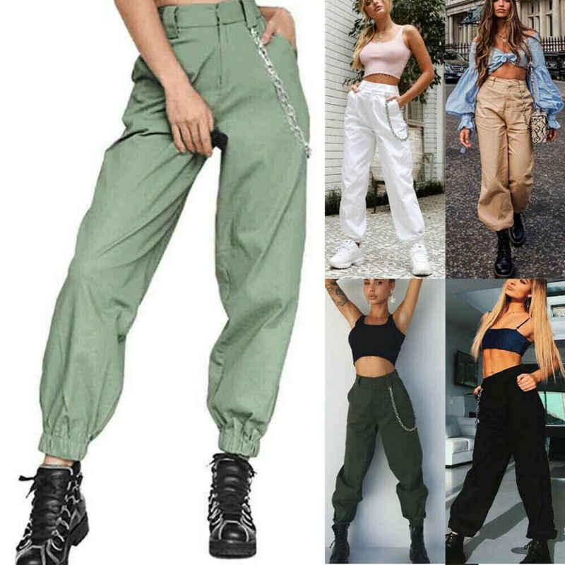 Moda kobiety Cargo spodnie Casual Hip Hop spodnie wojskowe armii kamuflaż piesze wycieczki dżinsy damskie spodnie Cargo