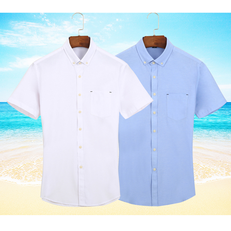 Men Oxford Fabric Shirts Turn Down Collar Front Pocket Button Short Sleeve Solid Color Summer Smart Casual Shirts Dress